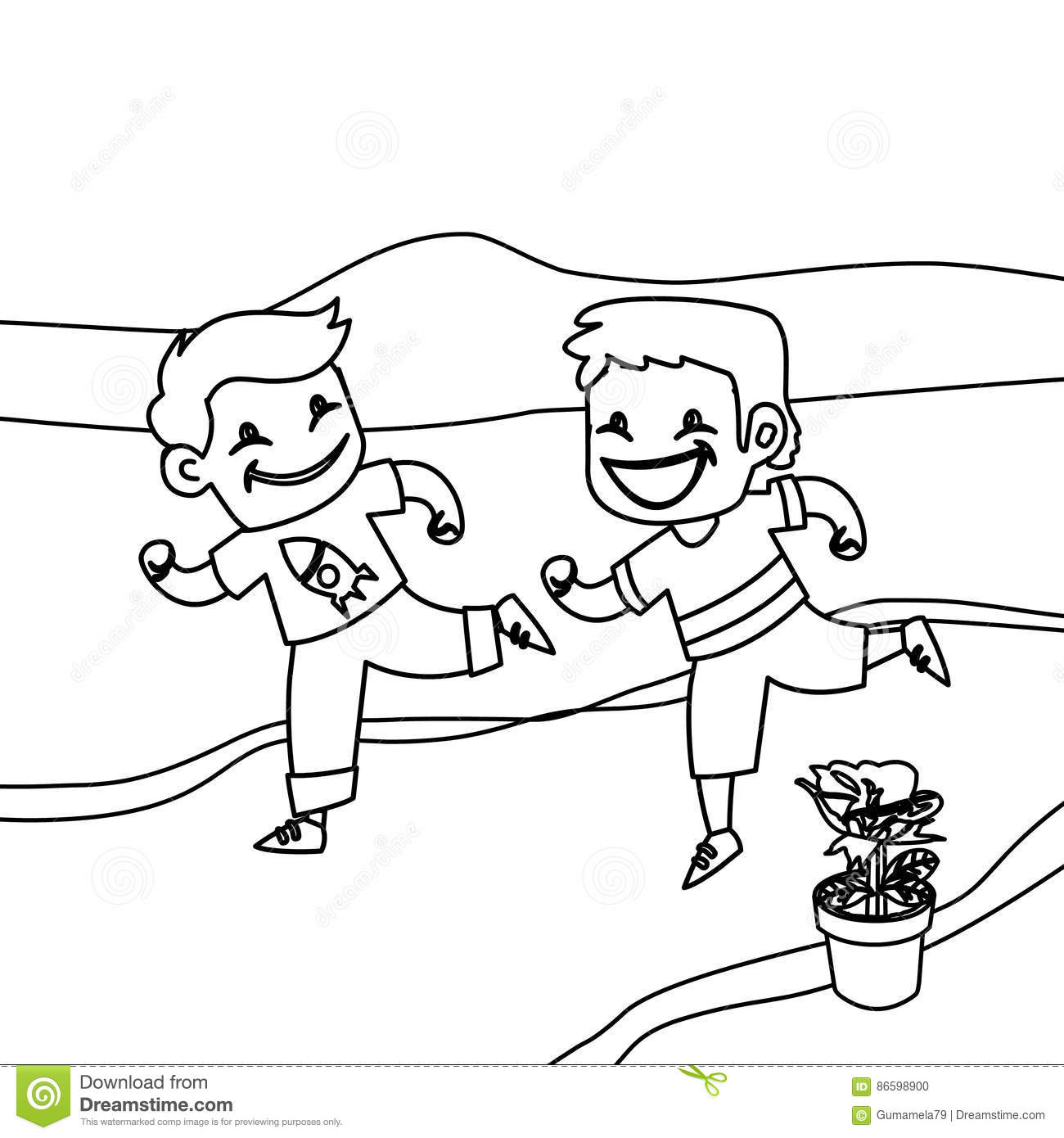Children Running Coloring Page Stock Illustration