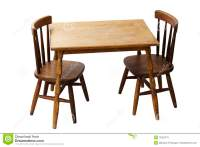 Children's Child Wood Table And Chairs Isolated Royalty ...