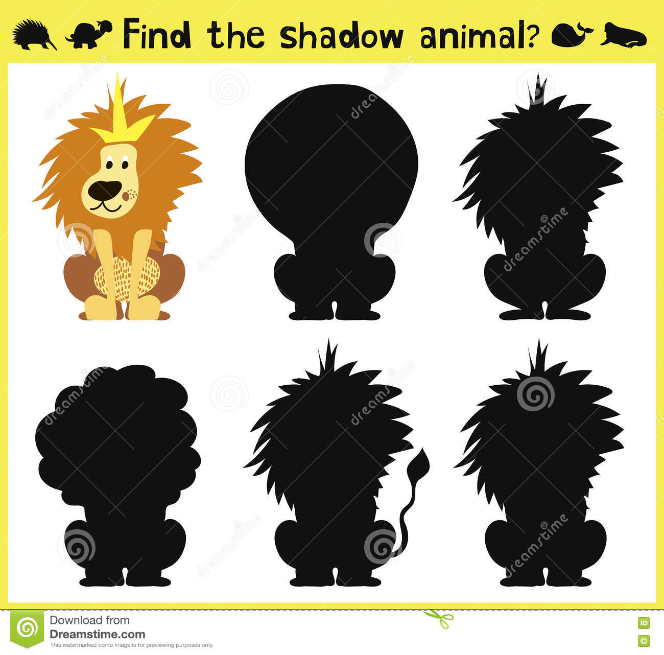 Find The Correct Shadow Lion Cartoon Vector