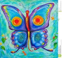 Children's Painting Of A Colourful Butterfly Stock Photos ...