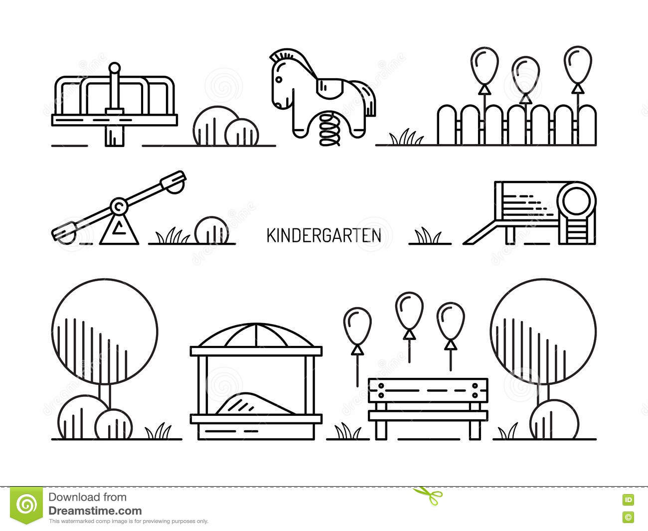 Children S Playground Kindergarten Stock Illustration