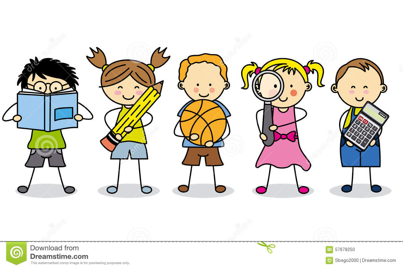 Children With School Objects Stock Illustration