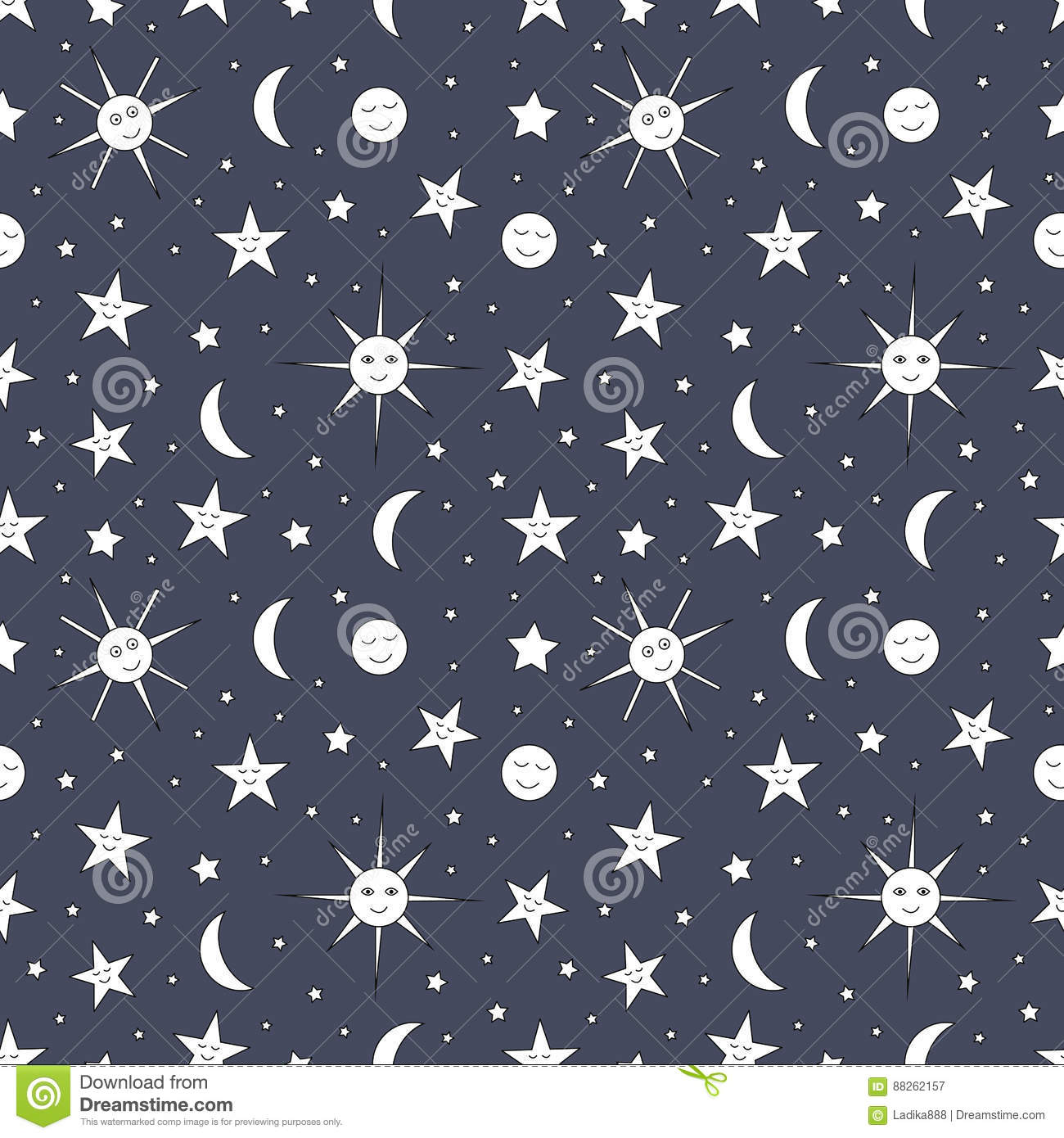 Children Seamless Pattern Of Night Sky With Sun Moon And