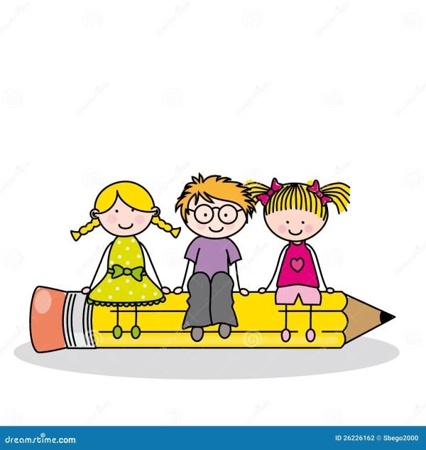 Children Sitting Pencil Stock Vector - Illustration