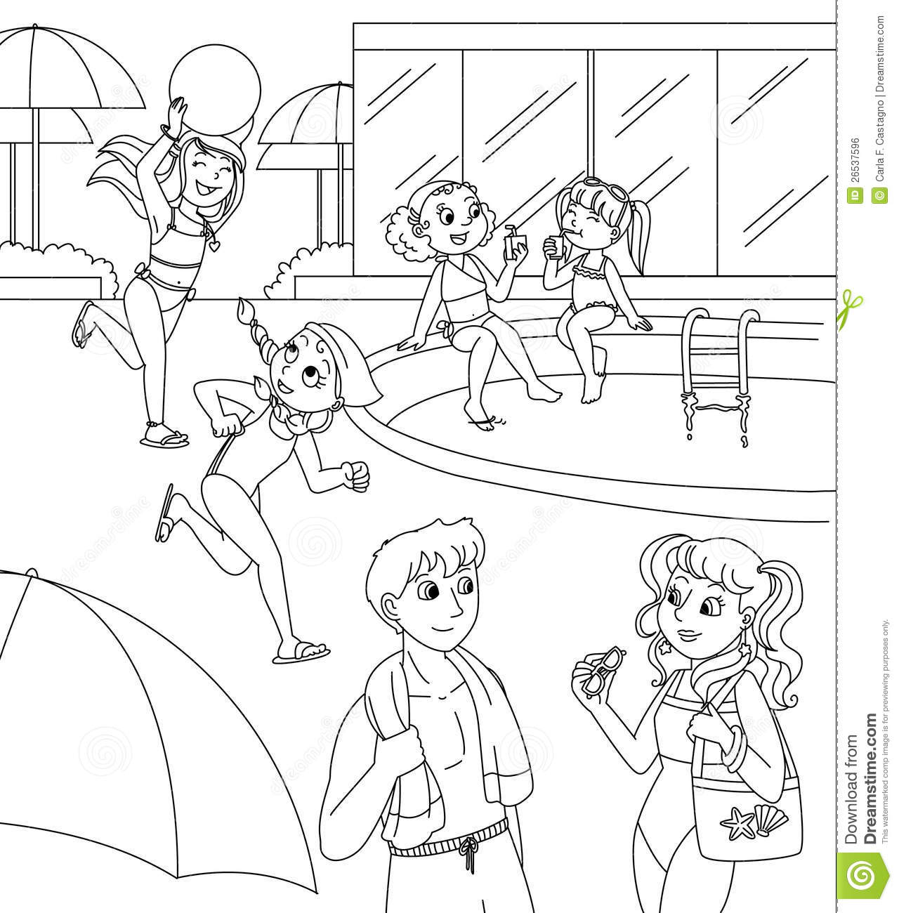 Children And Teens At The Swimming Pool Stock Illustration