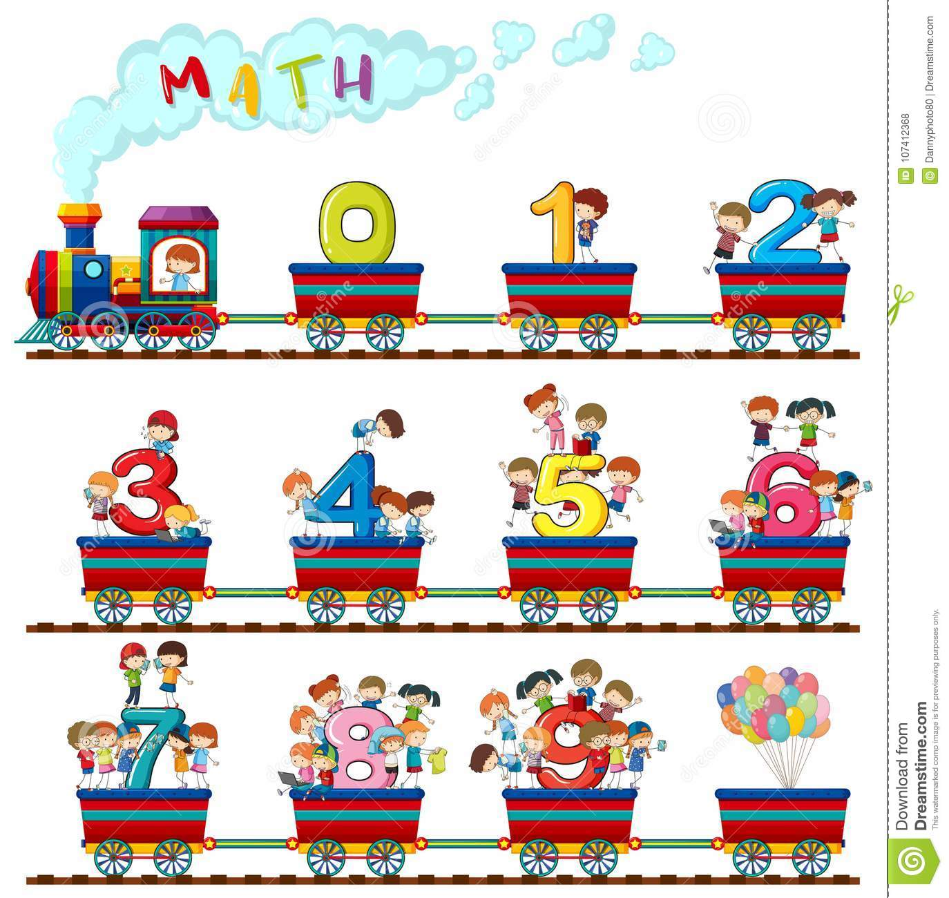 Children On The Train Of Numbers Stock Illustration