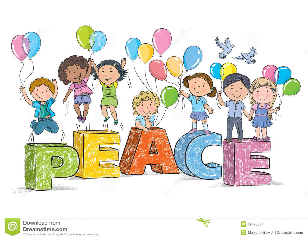 Children On The Word Peace Stock Vector
