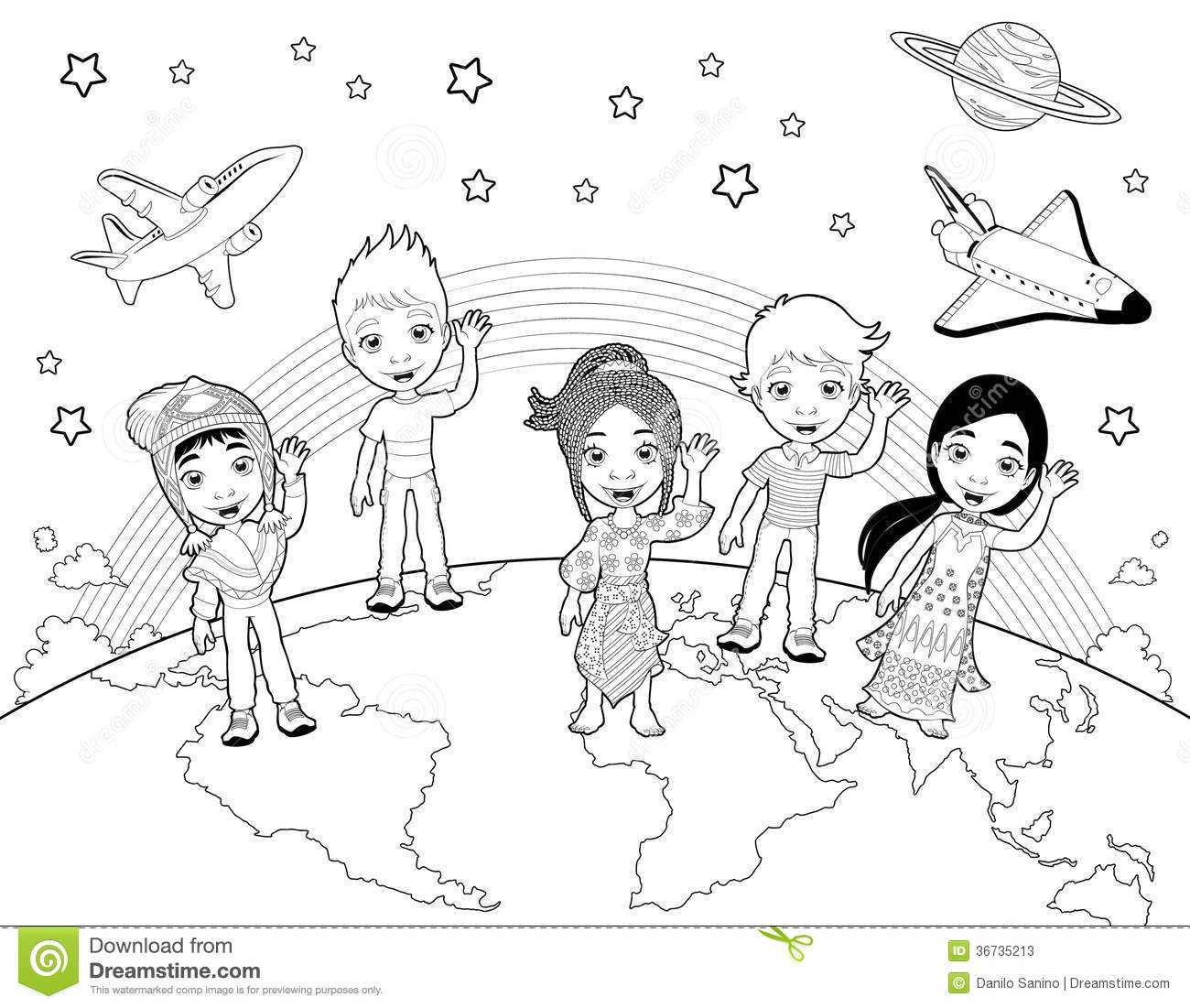 Children On The World In Black And White Stock Photos