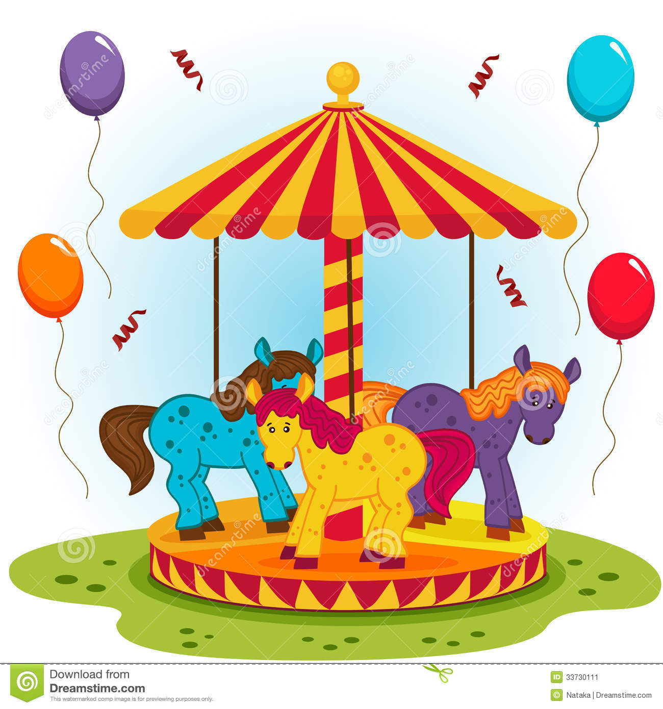hight resolution of childrens carousel with horses