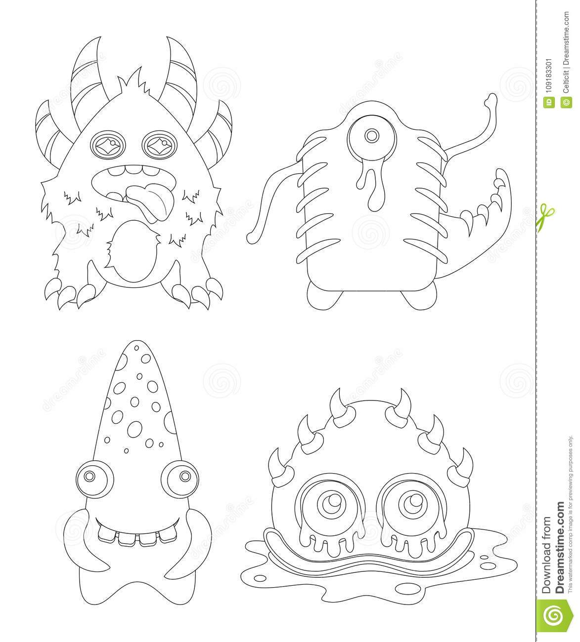 Childrens Coloring Page With Funny Cartoon Monsters Stock