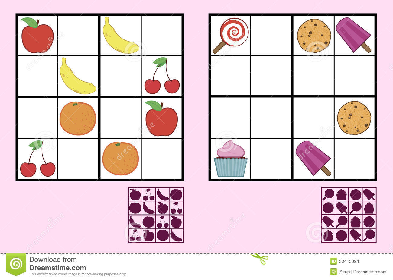 Childrens Sudoku Puzzle With Sweets Nuts And Fruit Stock