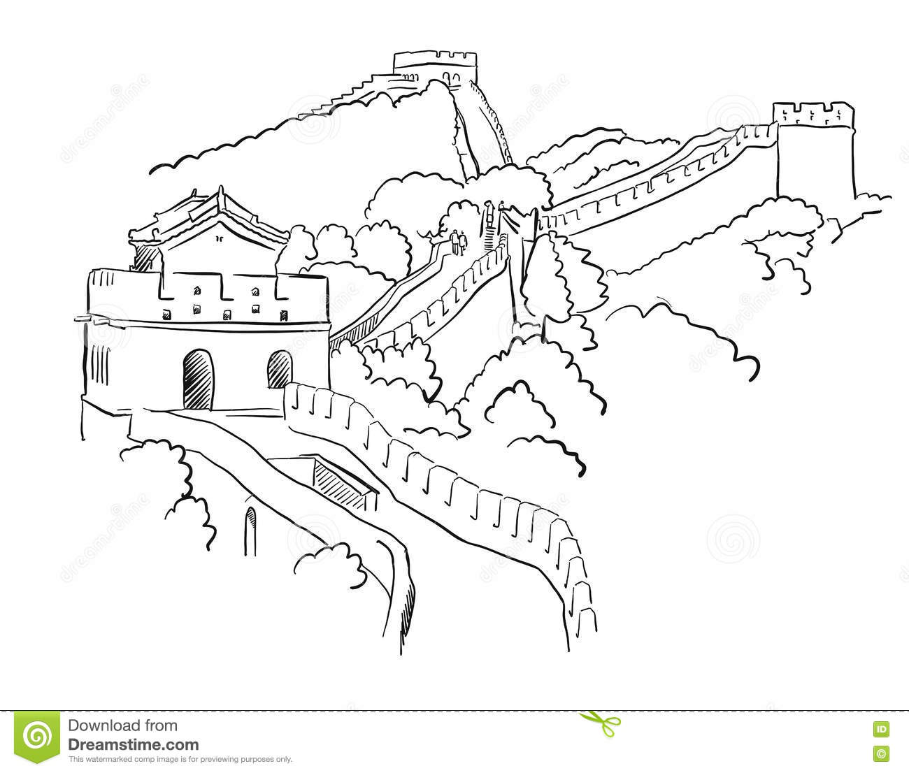 Great Wall Of China Clip Art Black And White Sketch