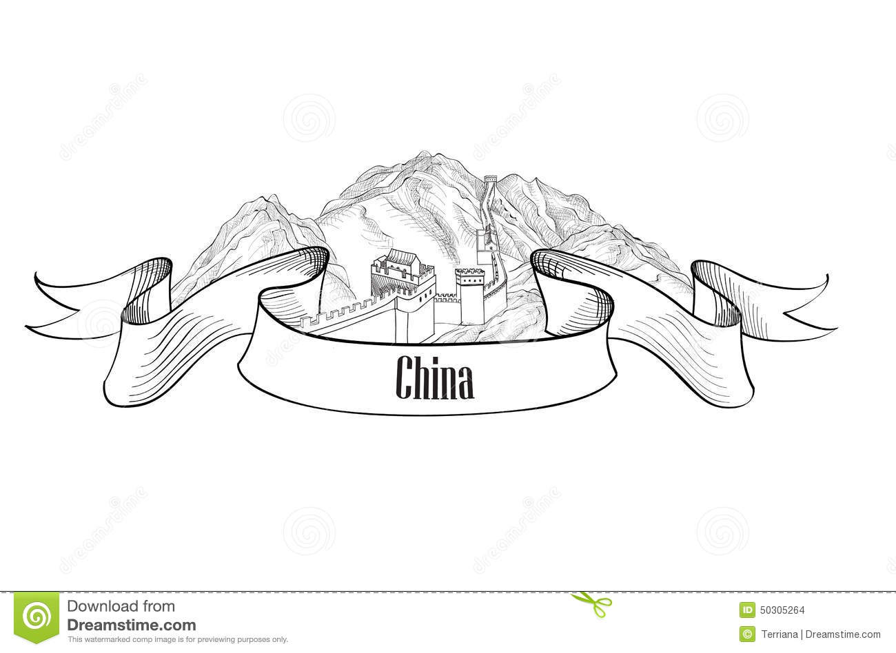 China Label The Great Wall Of China Symbol Stock Vector