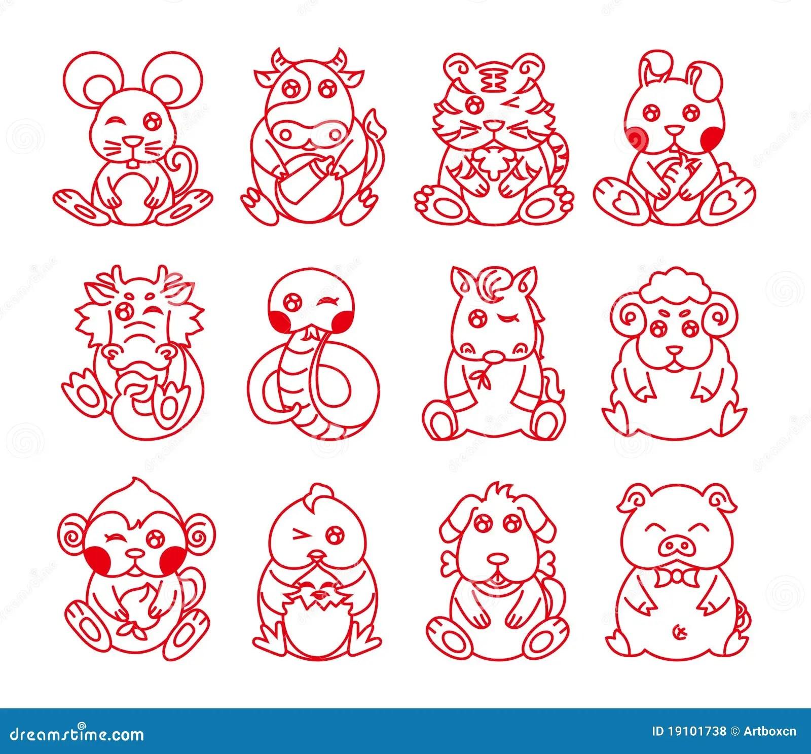 Chinese Ancient Zodiac Animal Year Symbol Vector