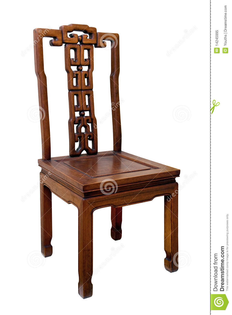 Chinese Antique Chair Isolated On White Background Stock