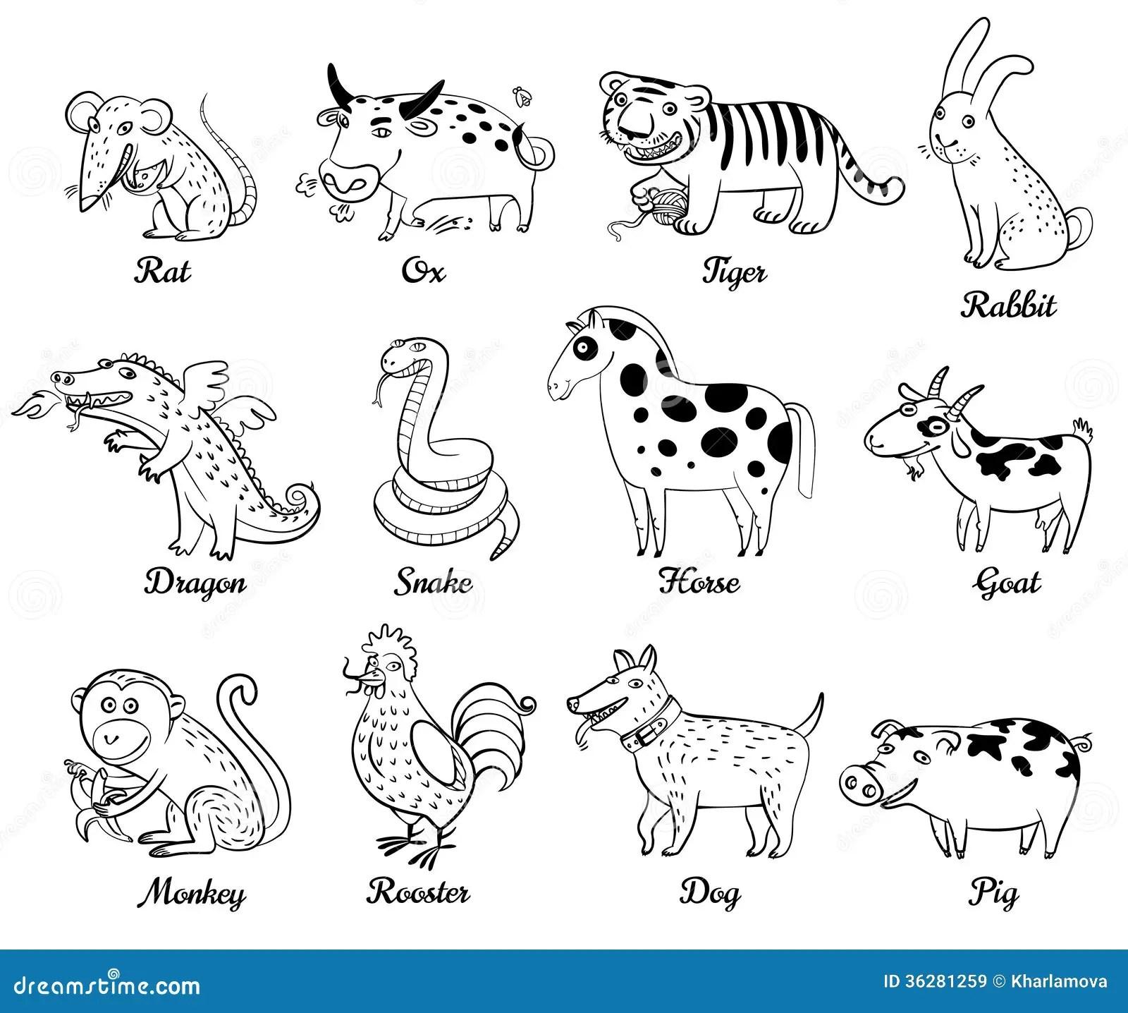 Chinese Astrologie Vector Illustratie Illustratie