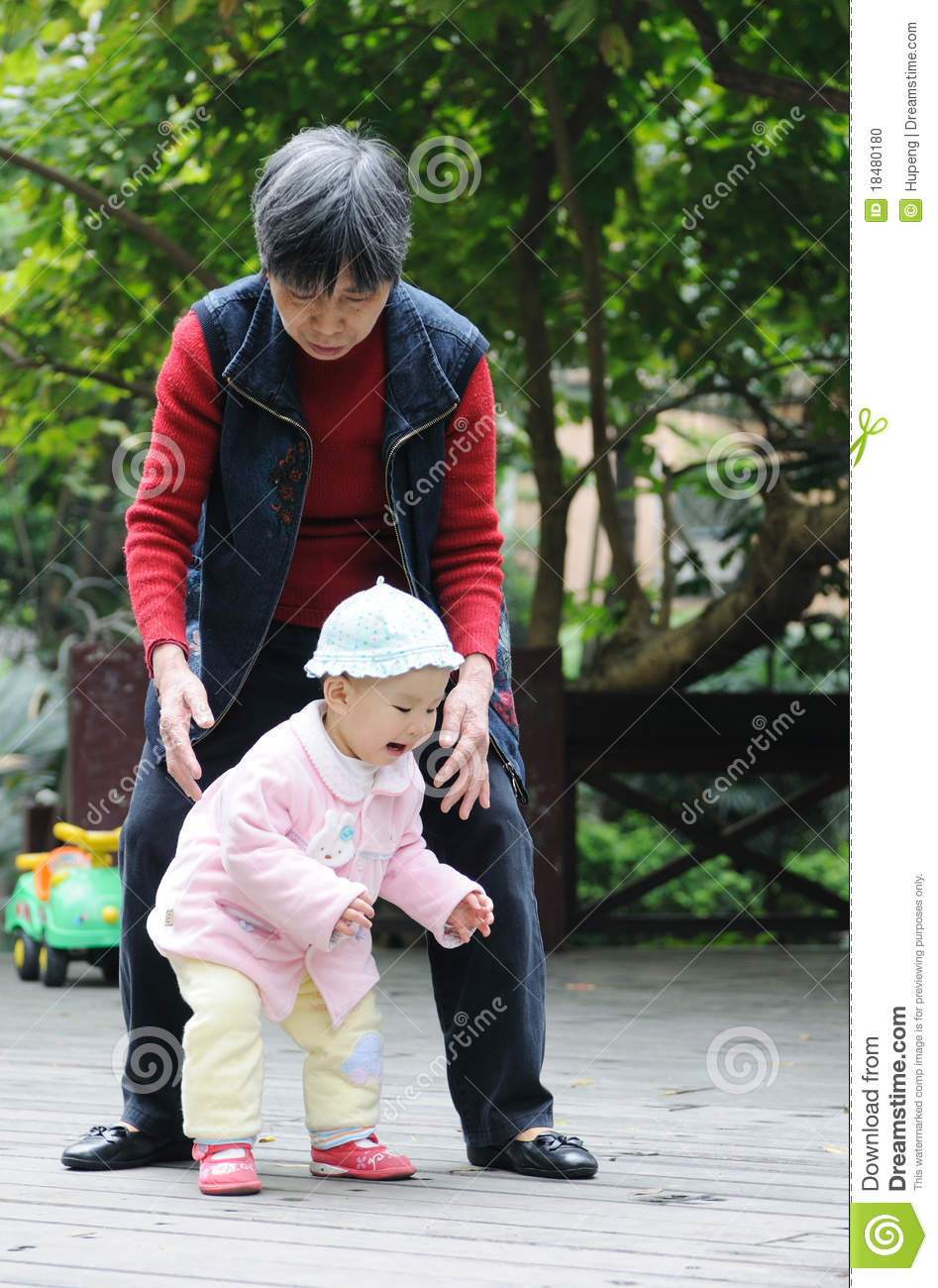 Chinese baby learn to walk stock photo Image of