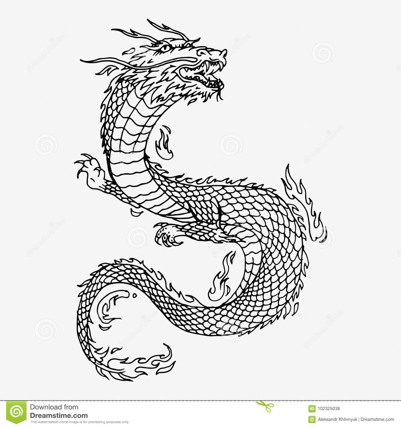 Chinese Dragon Hand Drawn Stock Illustration Illustration Of Drawn 102325038