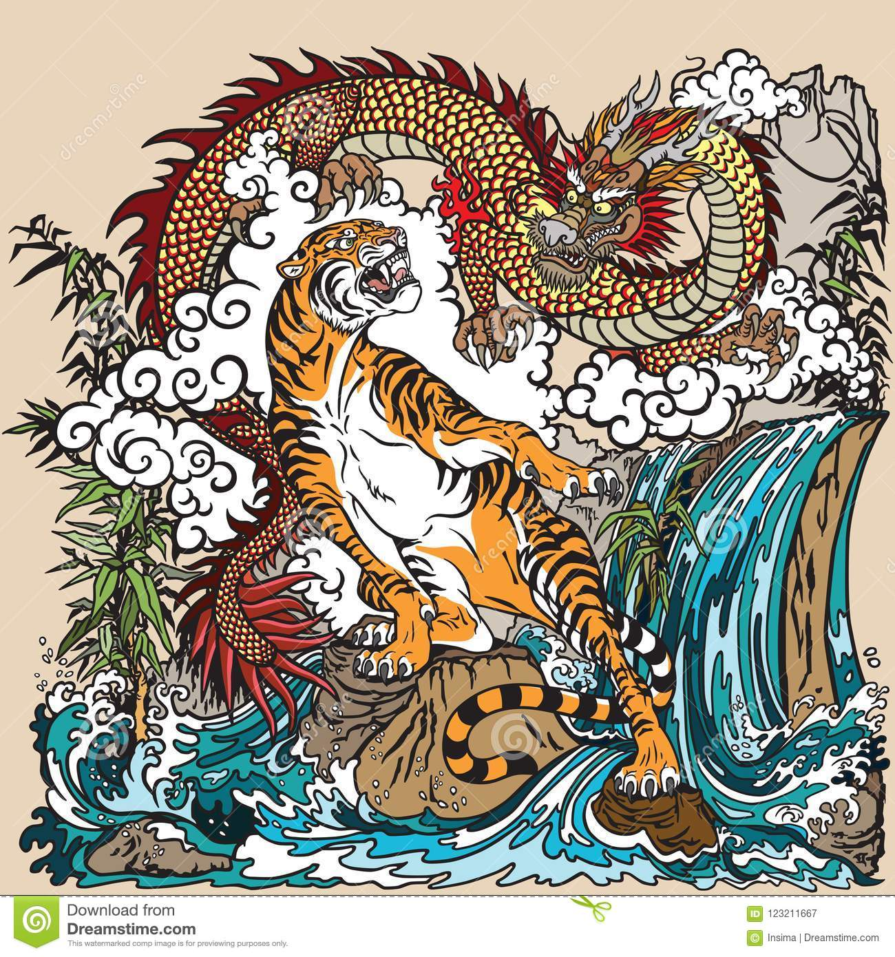 chinese dragon and tiger