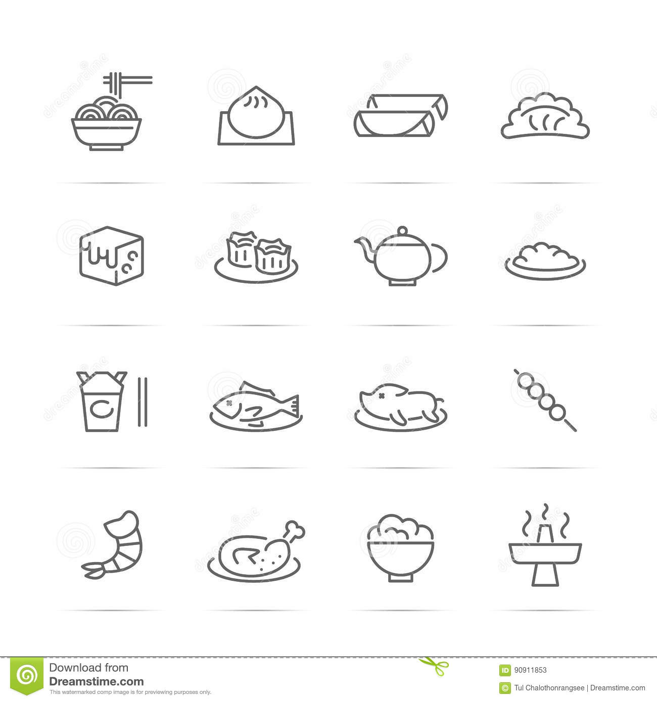 Chinese Food Vector Line Icons Stock Vector