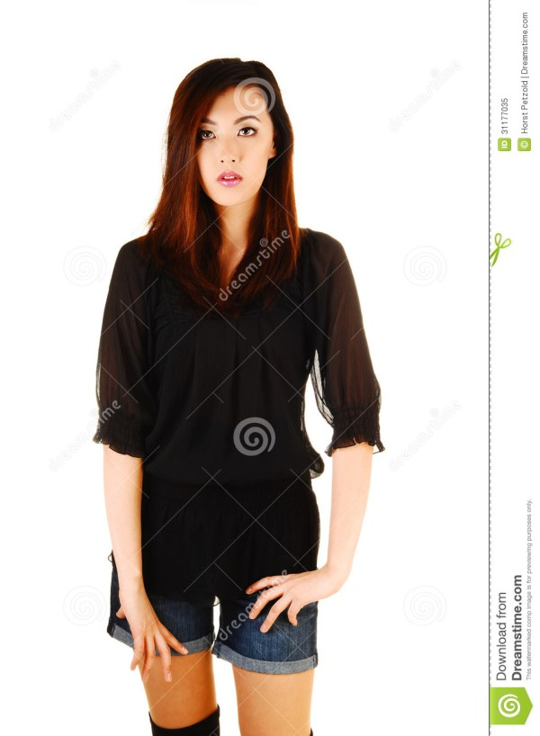 Chinese Girl Front. Stock Of Model