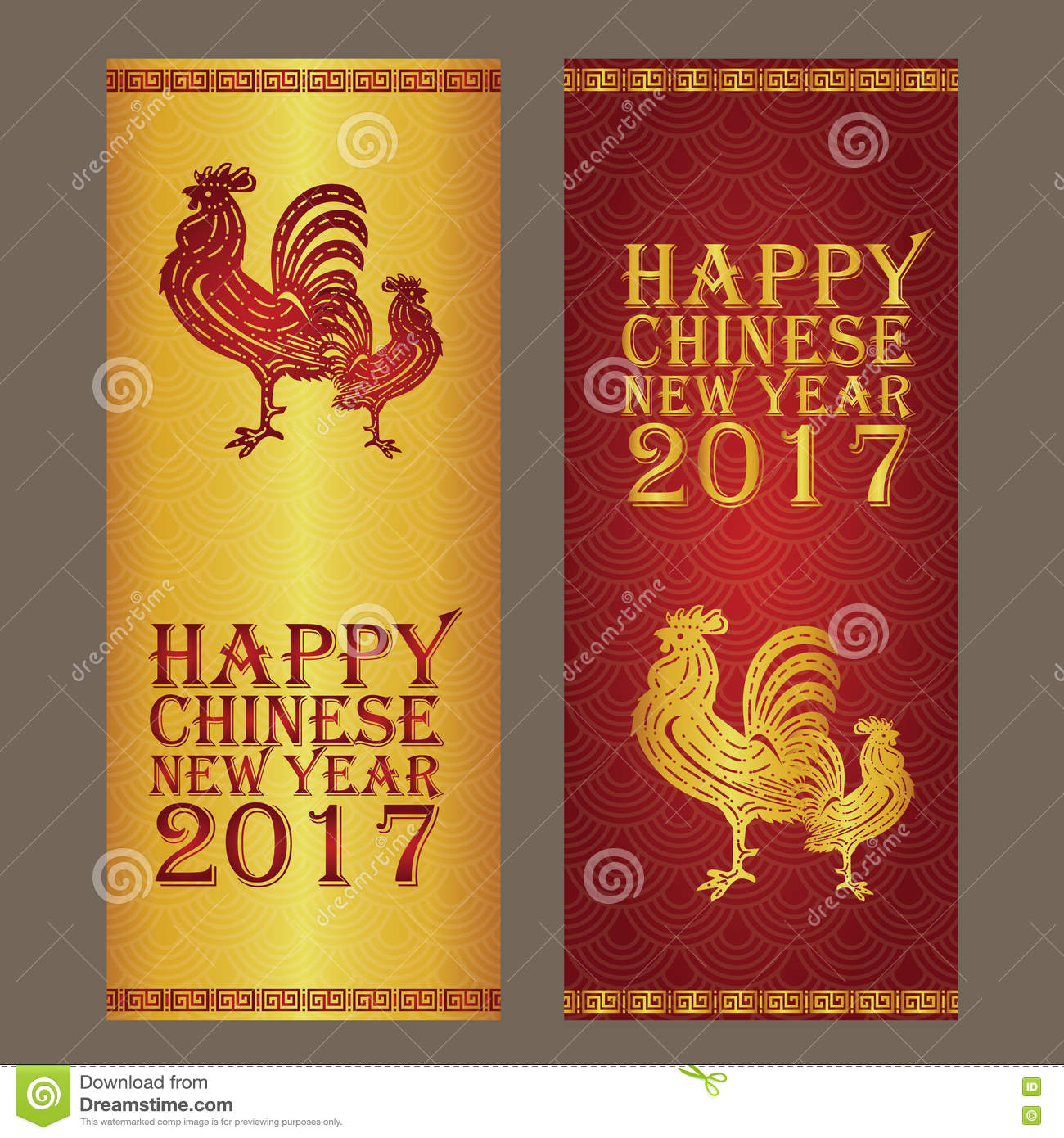 Chinese New Year Banner And Card Design Gold And Red