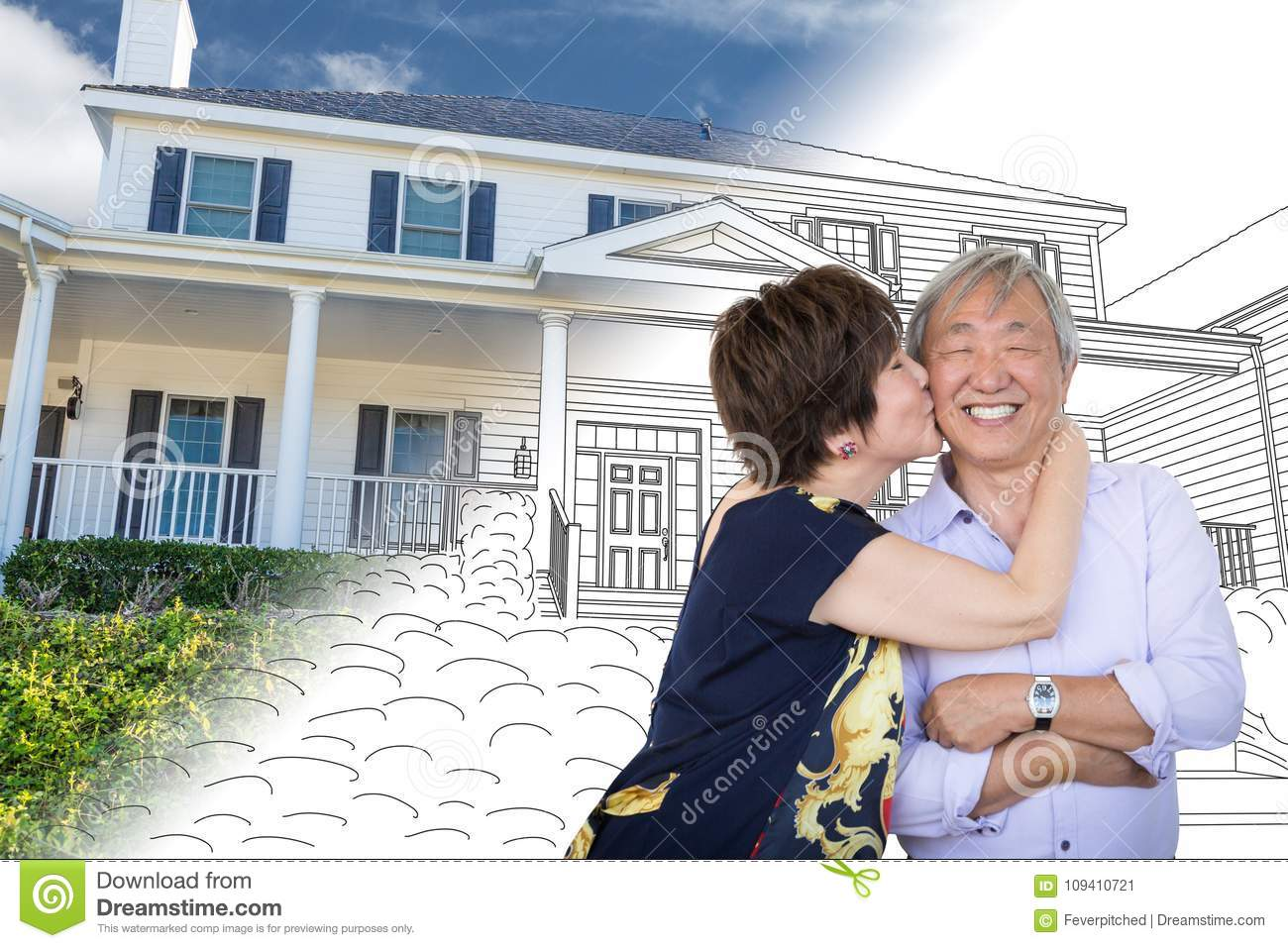 hight resolution of chinese senior adult couple kiss in front of custom house
