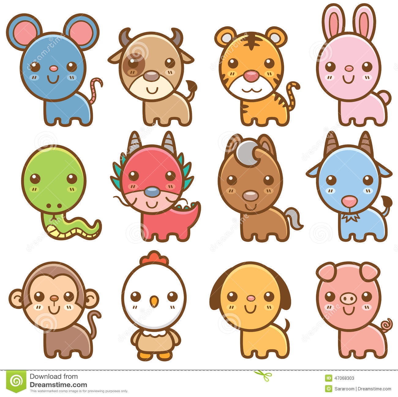 Chinese Zodiac Animals Stock Vector
