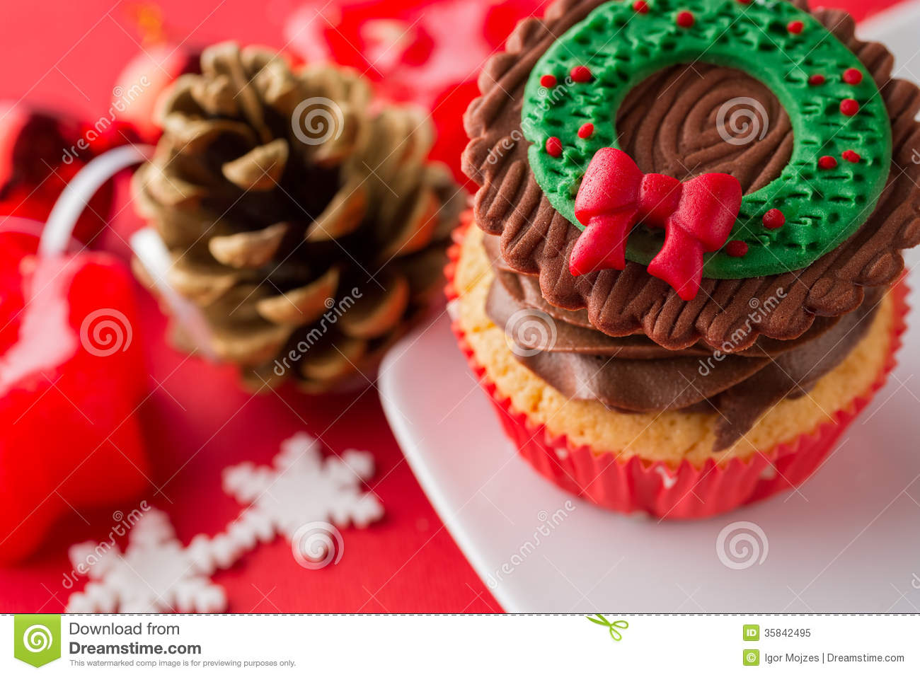 Choco Christmas Cupcake Stock Image Image Of Cupcake
