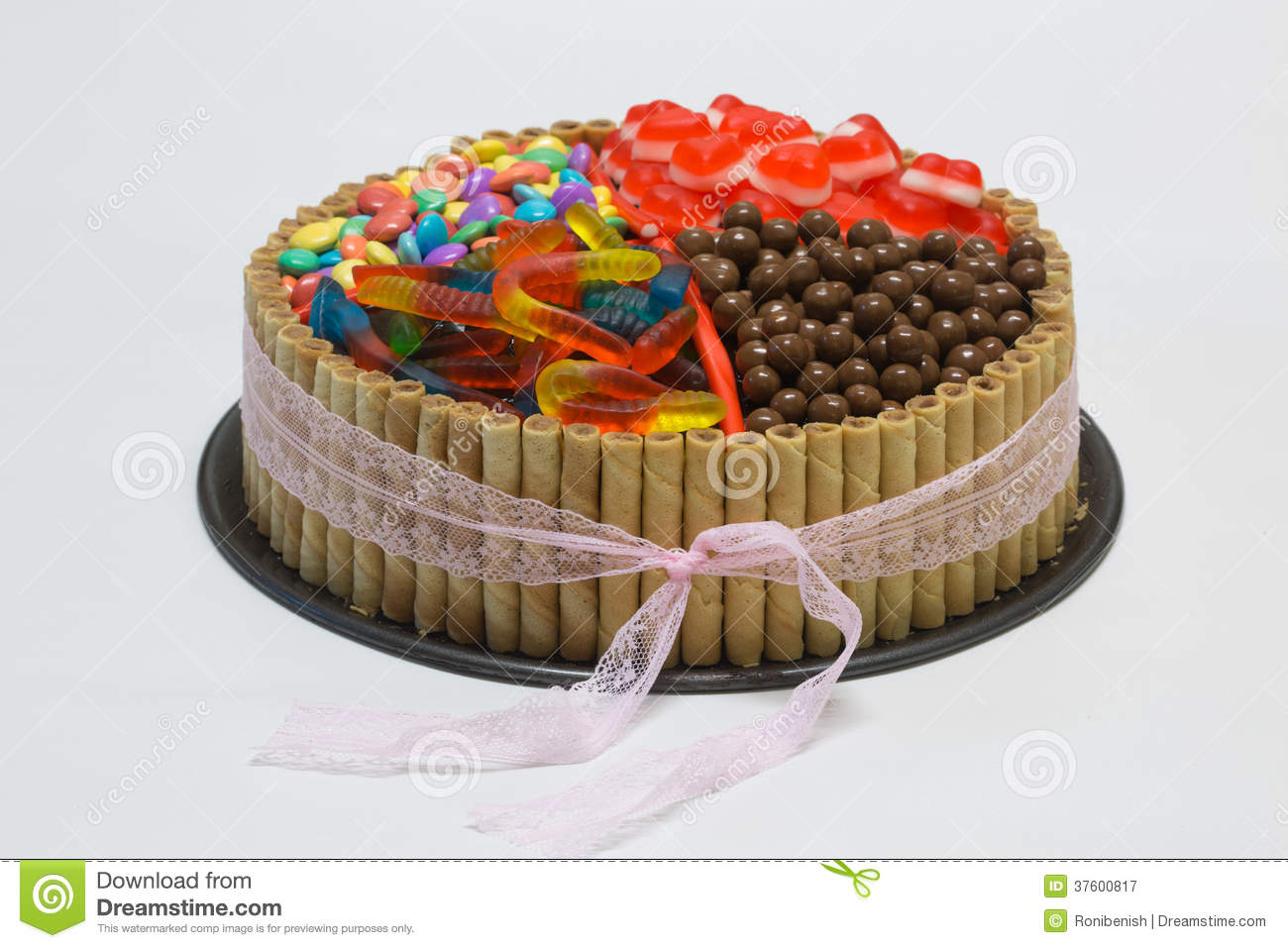 Chocolate Birthday Cake With Candy On Top Stock Image