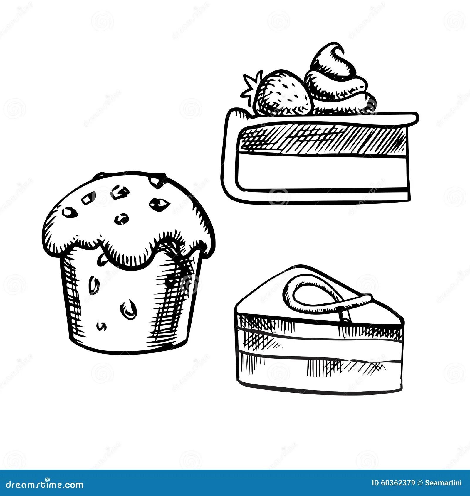 Chocolate Cake Cupcake And Cheesecake Stock Vector