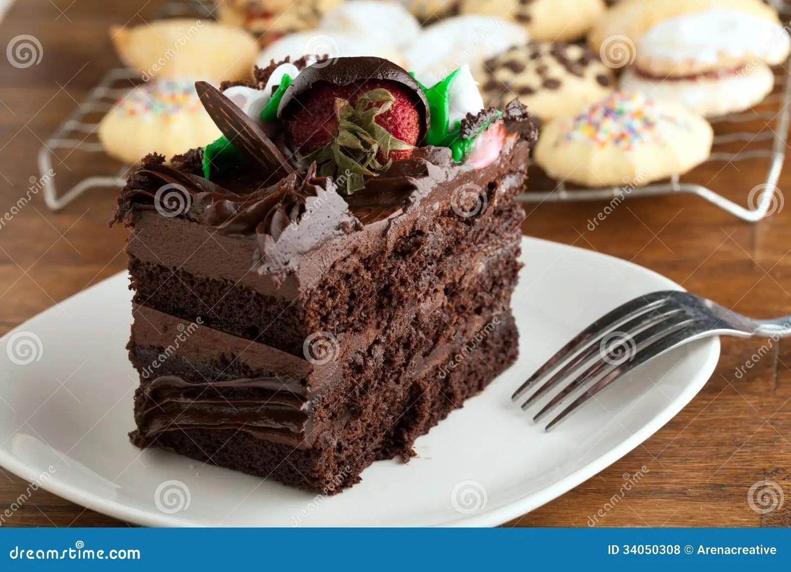 Chocolate Cake Slice With Cookies Stock Photo  Image of