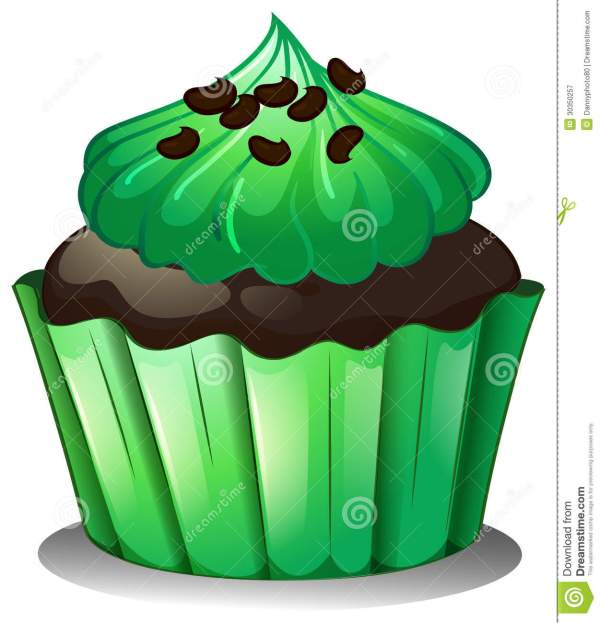 chocolate cupcake with green