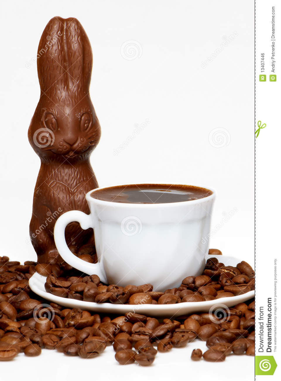 Chocolate Easter Rabbit With Up Of Coffee Stock Photo