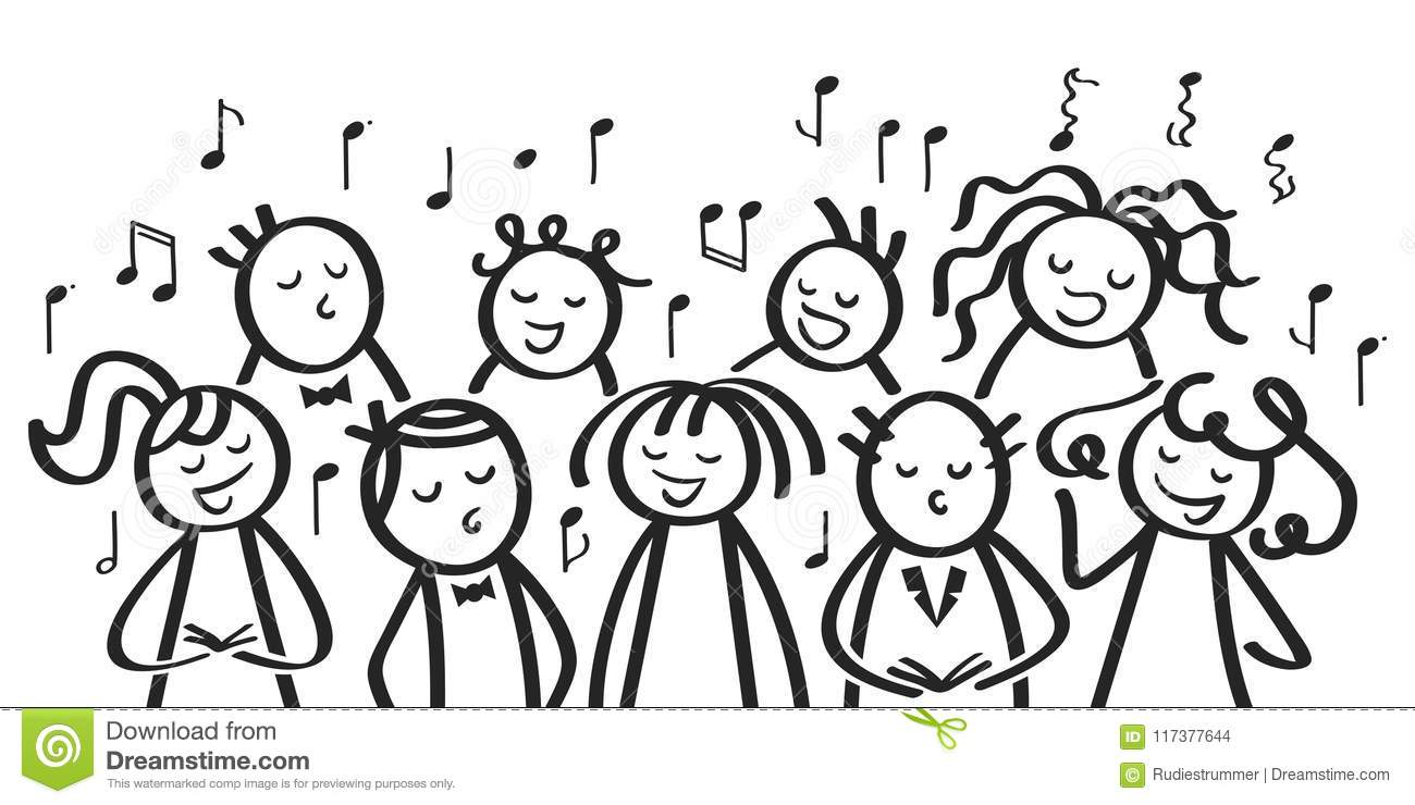 Choir, Funny Men And Women Singing, Black And White Stick
