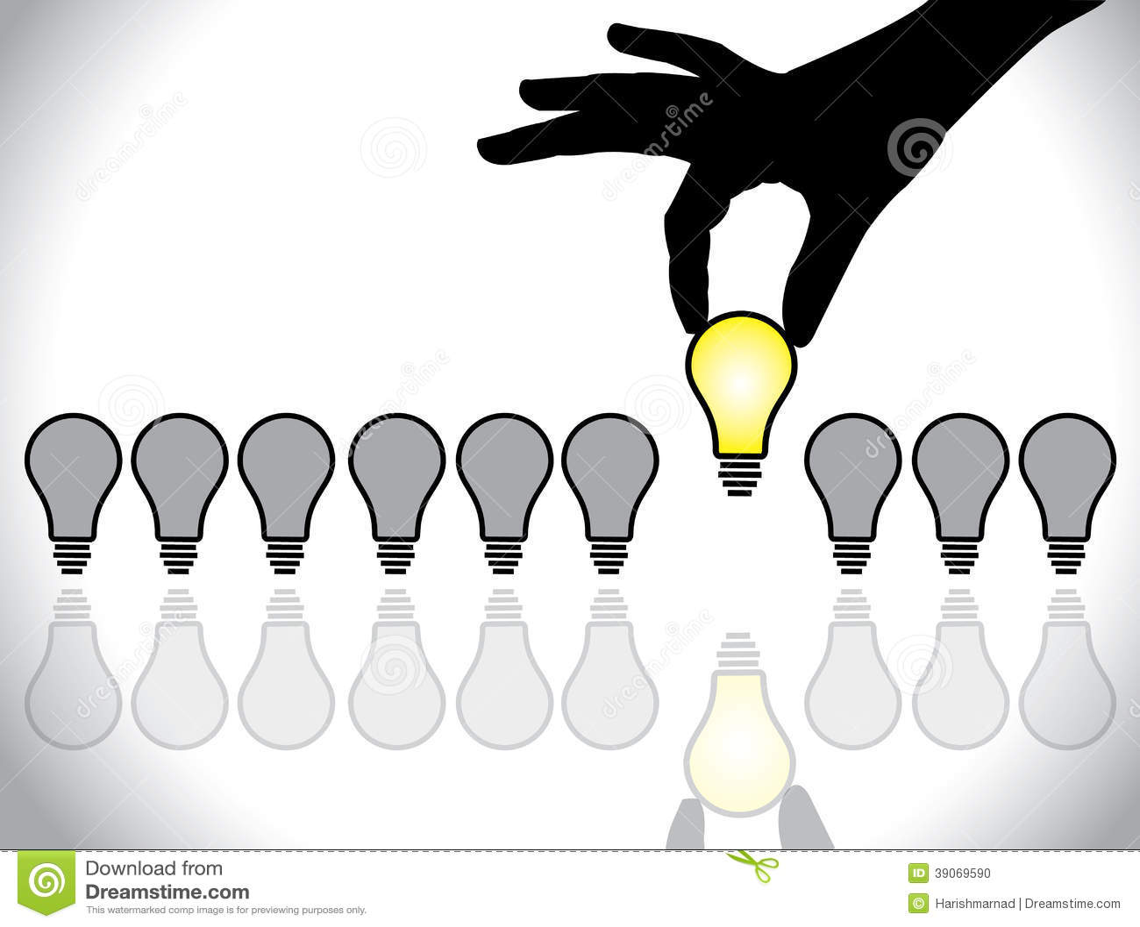 Choosing The Best Idea Lightbulb Concept