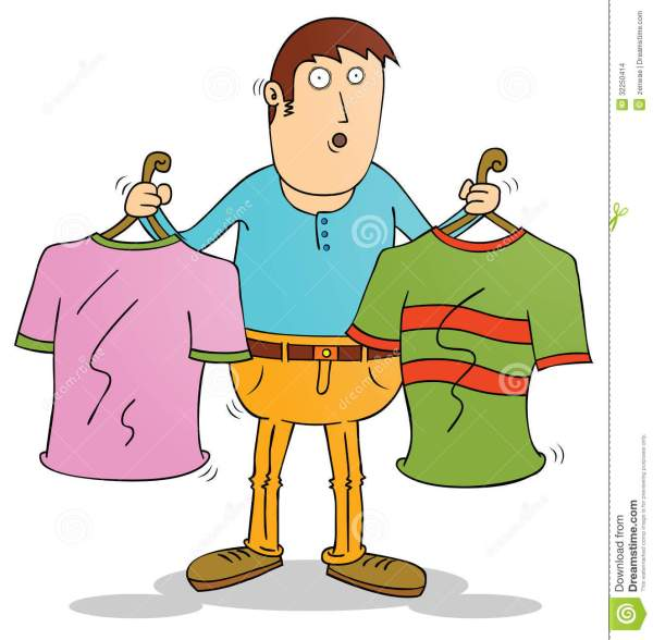 Choosing Clothes Stock Vector. Illustration Of