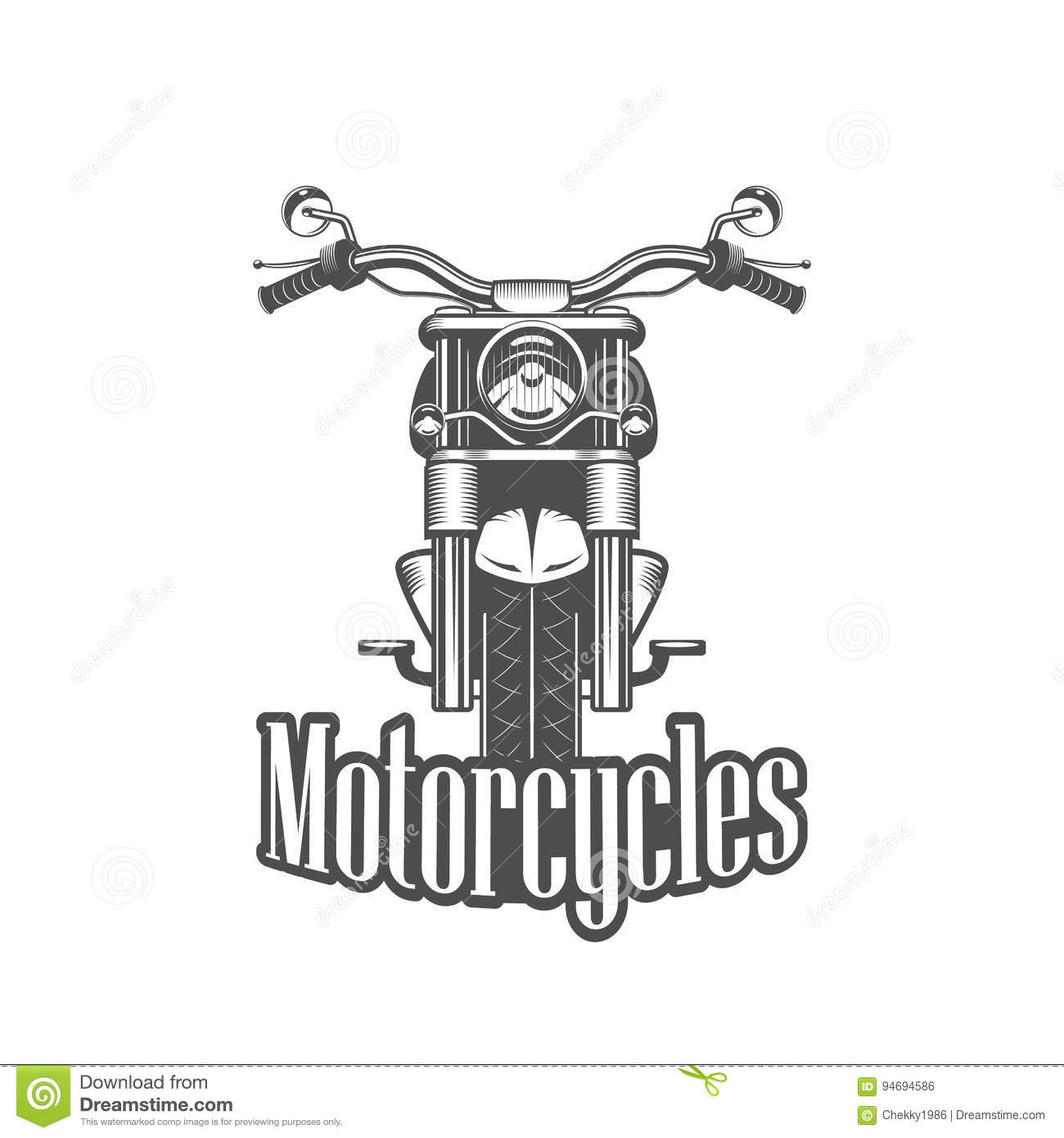 Chopper Motorcycle Front Side Isolated Stock Vector