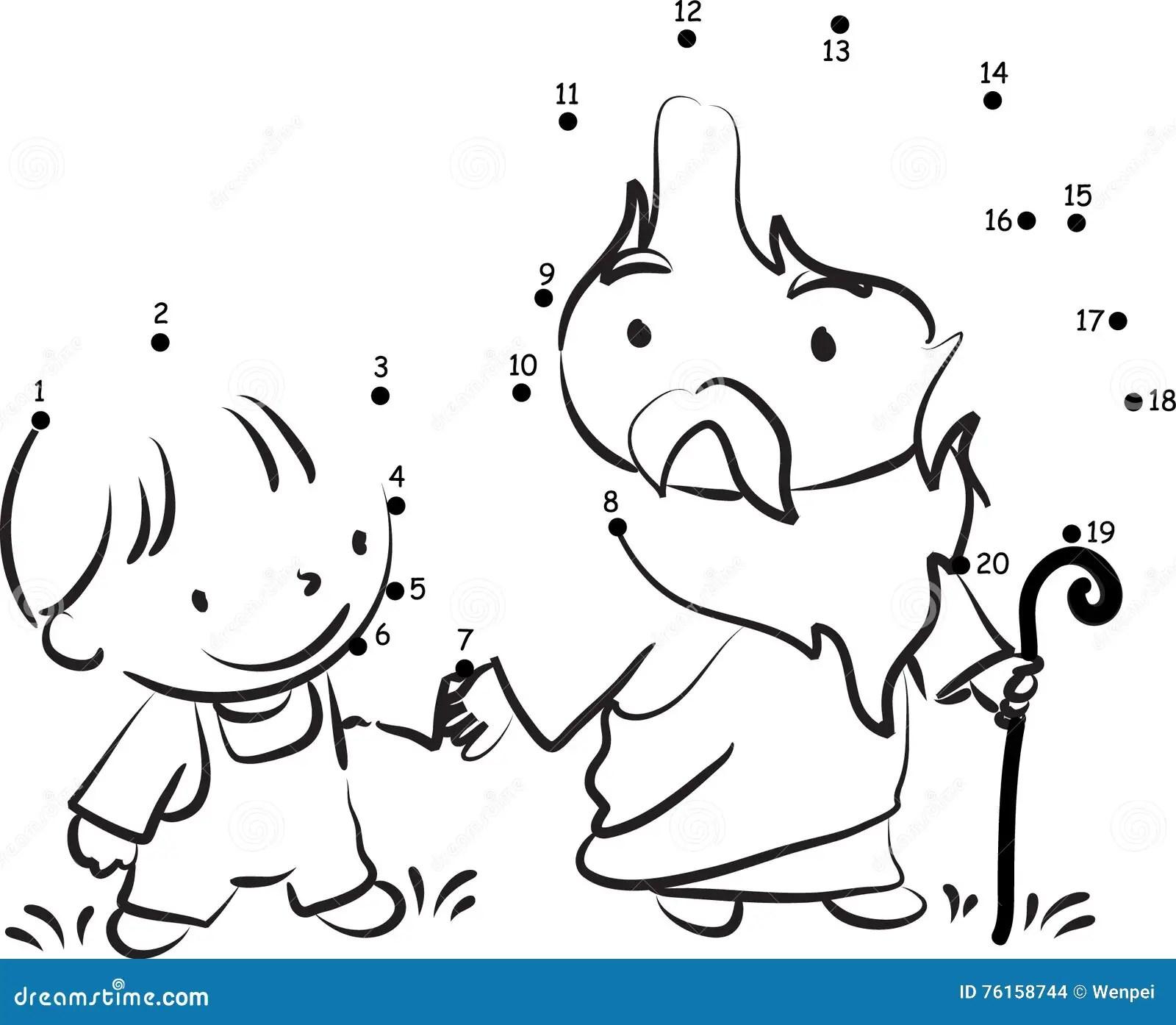Cartoon Jesus Hand In Hand Kids Children Cartoon Vector