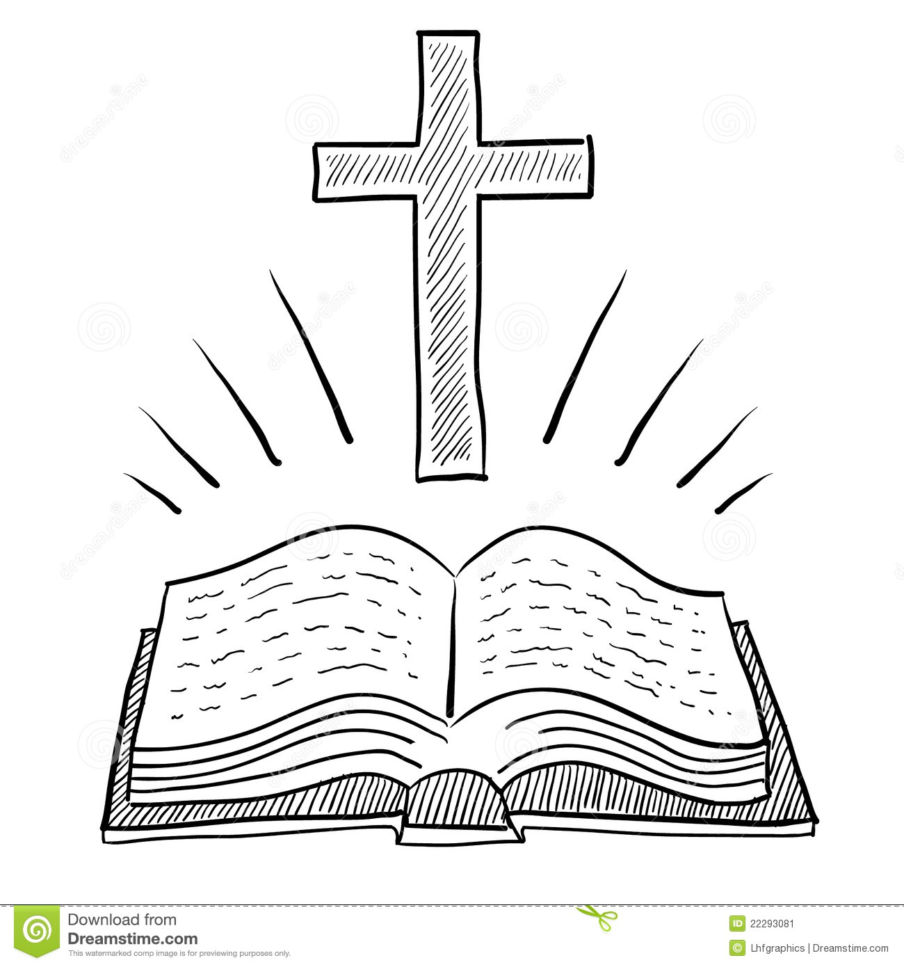 Christian Bible And Cross Drawing Stock Vector