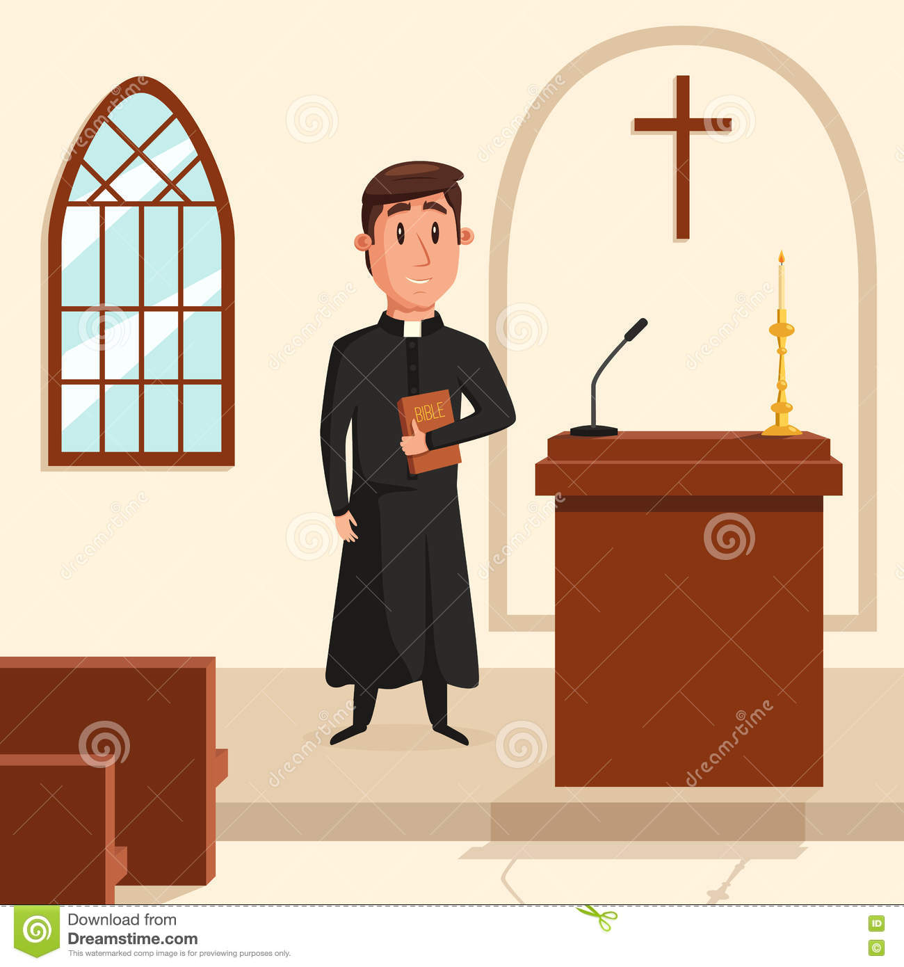 hight resolution of christian catholic priest preaching at church holy father in robe or pastor with collar