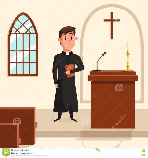 small resolution of christian catholic priest preaching at church holy father in robe or pastor with collar