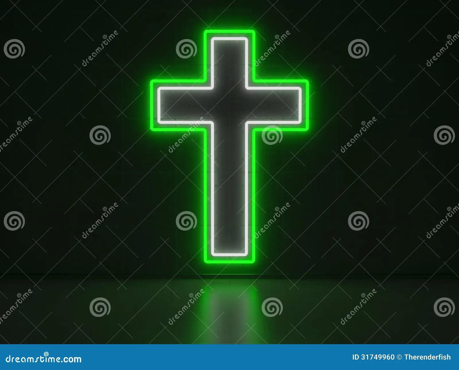 Holy Cross 3d Wallpaper Christian Cross Series Neon Signs Stock Photo Image