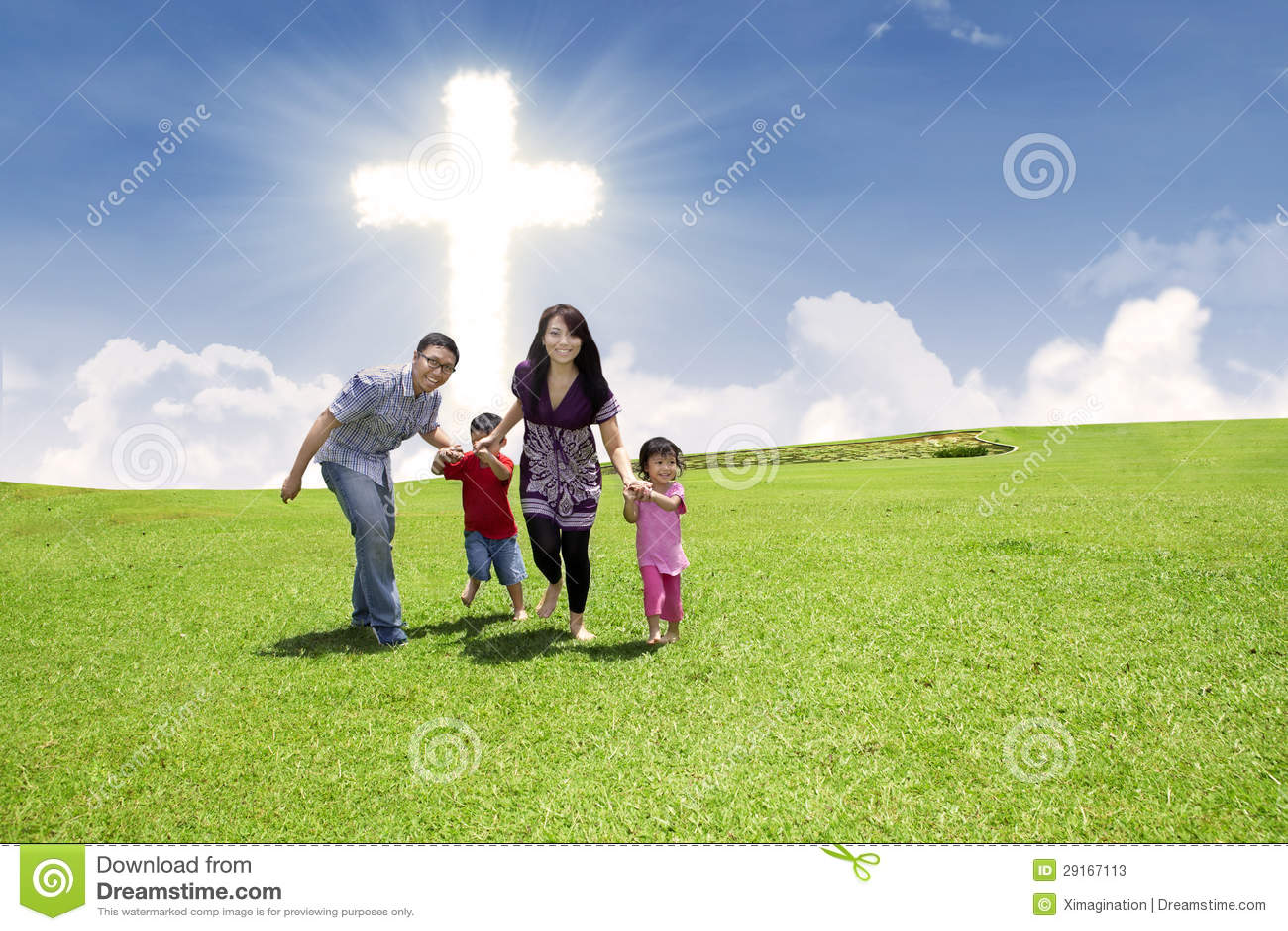 Christian Family Running In Park Stock Image  Image 29167113