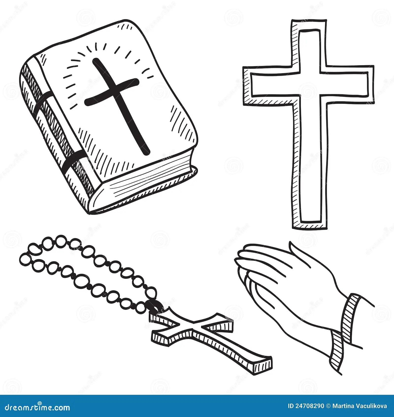 Christian Hand Drawn Symbols Illustration Stock Vector