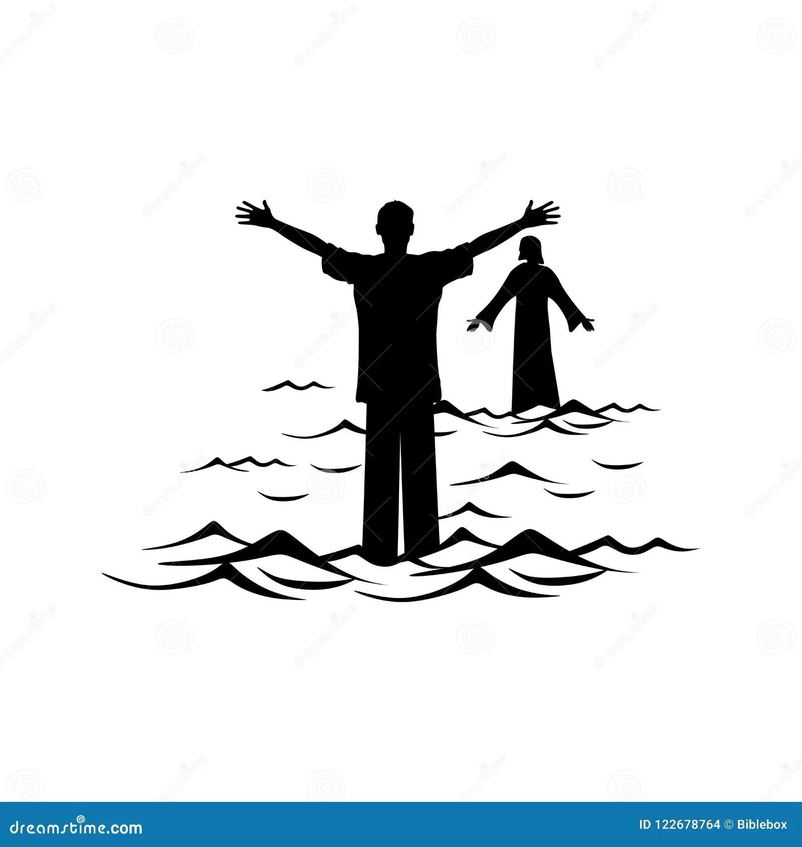 Christian Illustration A Man Walks The Water Towards
