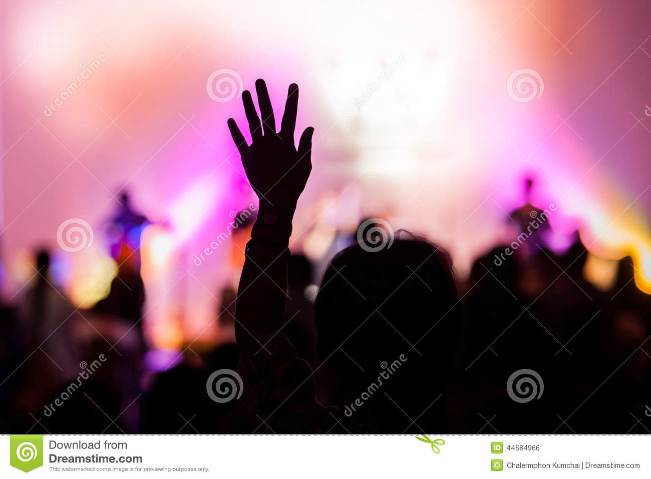 Christian Music Concert With Raised Hand Stock Photo