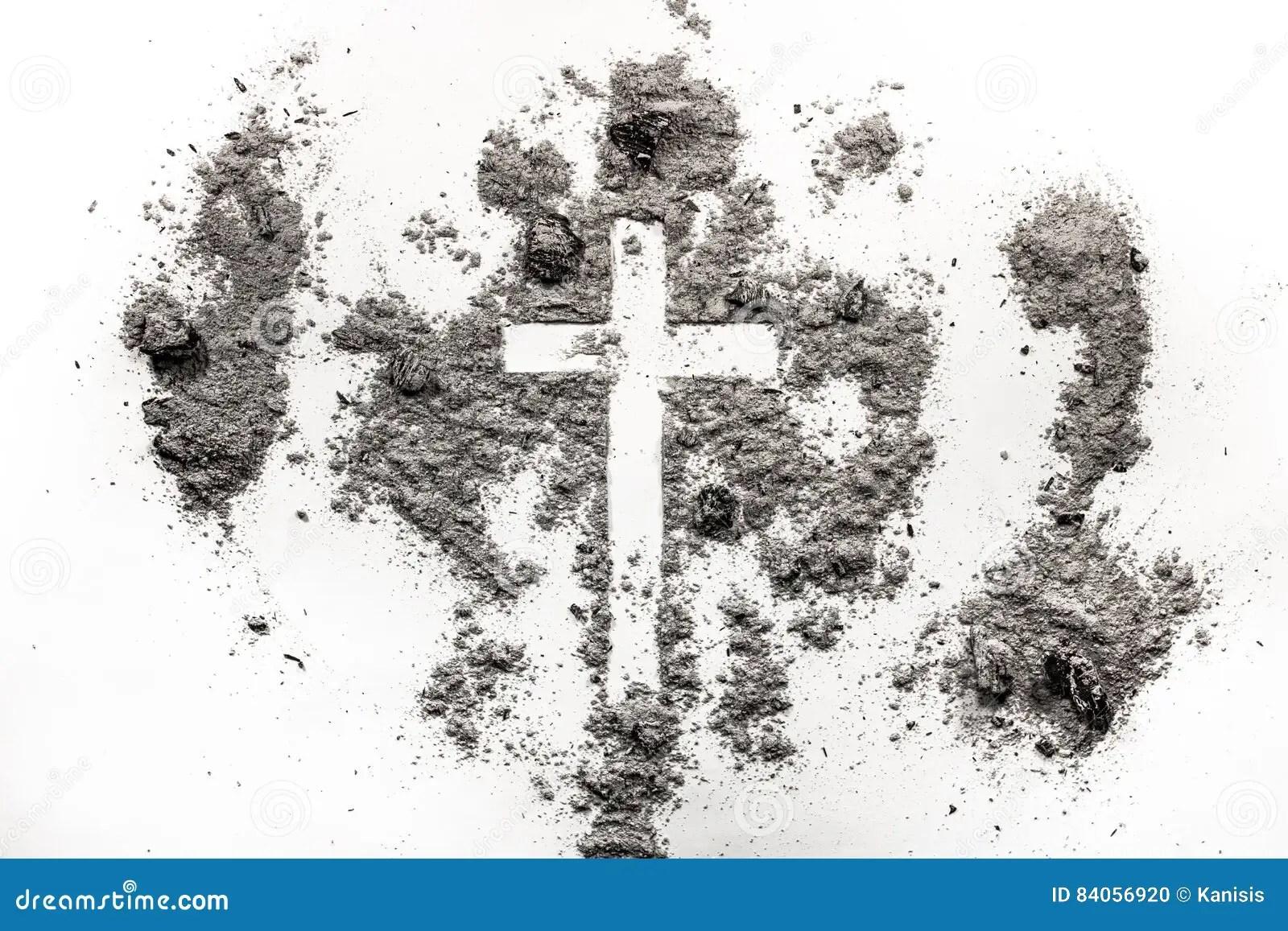 Christliches Kreuz Kruzifixsymbol In Der Asche Staub Ash