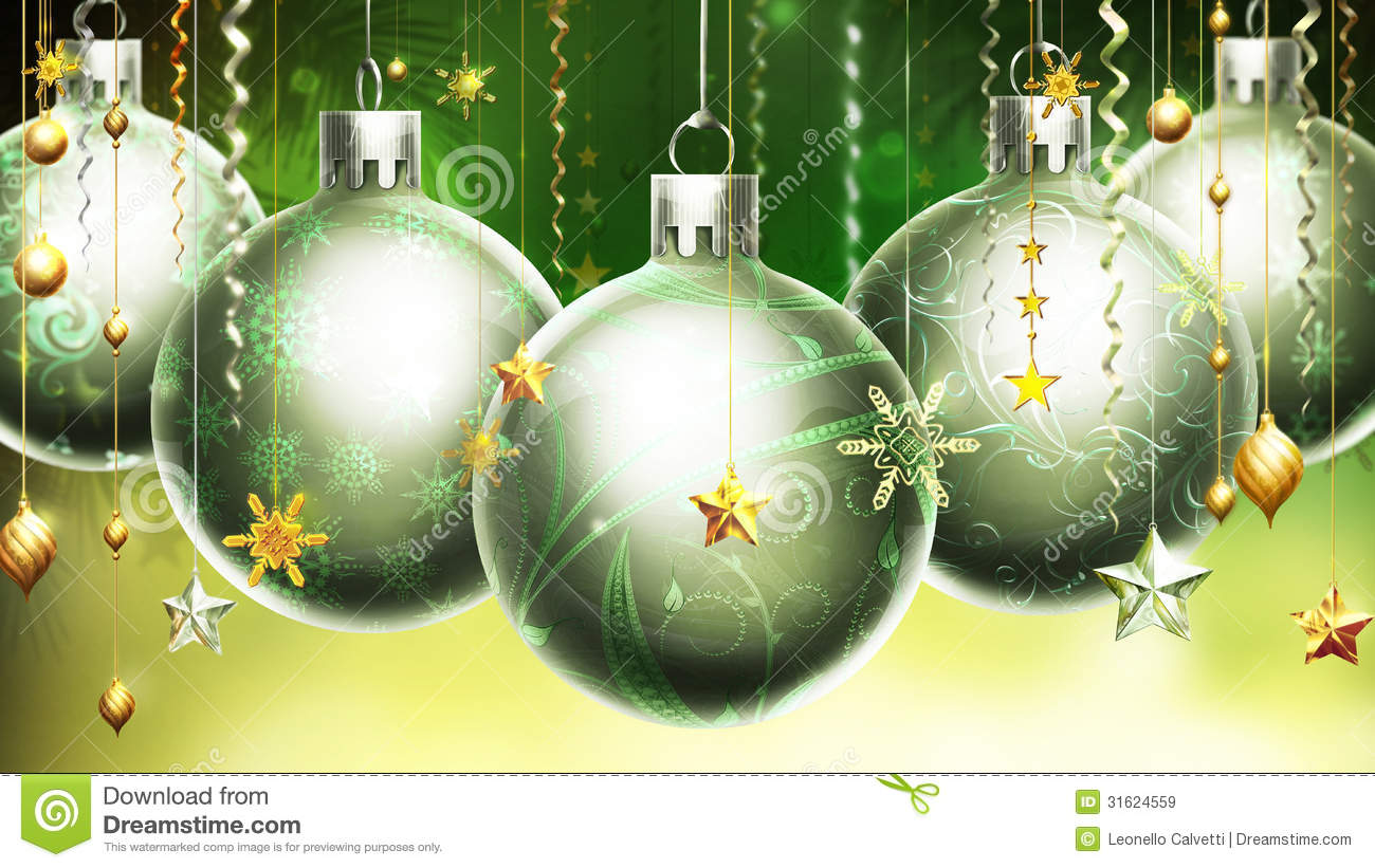 Christmas Abstract Greenyellow Background With Big Silver