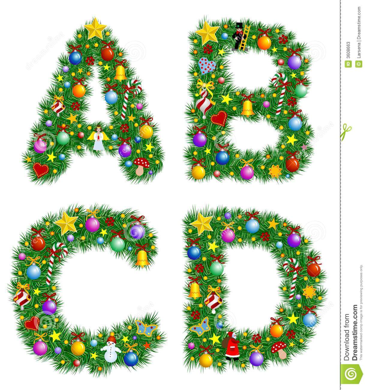 Christmas Alphabet Stock Vector Illustration Of Isolated